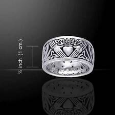 Claddagh & Trinity Knots Band Sterling Silver Ring - Superbly Crafted