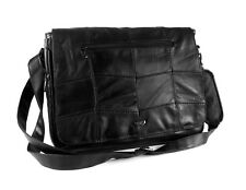 MENS REAL LEATHER LARGE MESSENGER LAPTOP WORK SCHOOL SHOULDER BAG