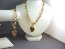 24K GOLD EP SILVER EP HEART TOGGLE CHAIN BRACELET  NECKLACE  CHAIN