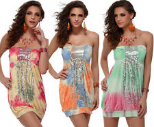 SEXY Spring Summer Tie-dye Pailletted Strapless Prom Clubwear Gogo Dance @X4098
