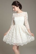 New 2014 Elegant Womens Trendy Lace Sunflower pattern 3/4 sleeve dress white