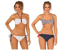 Womens Nautical Bikini Set Swimwear Tie Halterneck / Bandeau Ladies Size UK 8-16