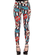 Sourpuss Clothing Sideshow Leggings Black White Striped Rockabilly Circus Tattoo