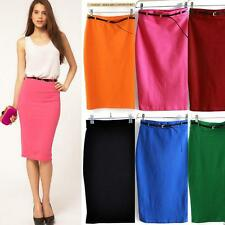 Lady Dress Office High Waisted Belted Pencil Skirt Stretch Bodycon Knee Length