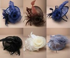 Ladies Net Hessian and Feather Hat Facinator on Alice Band Wedding Ascot Races