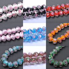 10pcs Flower Inside Faceted Rondelle Lampwork Czech Glass Spacer BEADS 12X10MM