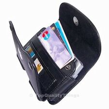 Luxmo Black Leather Horizontal ID Wallet Pouch Holster Belt Clip Carrying Case