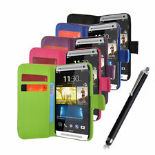 For HTC One 2 M8 Phone Pu Leather Wallet Flip Case Cover + Free Stylus Pen
