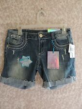 NWT-WOMENS-SZ'S-3,5-ALMOST-FAMOUS-DENIM-STRCH-BERMUDA-SHORTS-DISTRESSED-WHISKERS