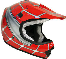 Youth Motocross Dirt Bike Off-Road ATV MX Red Spider Net Kids Helmet~S, M, L