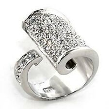 M7X428PB PAVE SET 925  STERLING  SILVER SIMULATED DIAMOND RING WOMENS OPEN