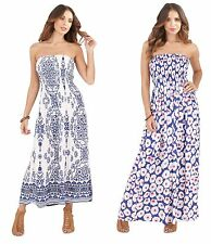 Womens Strapless Bandeau Summer Maxi Full Length Ladies Floral Dress Size 8 - 16