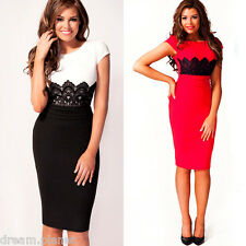 New Arrival! Womens Celebrity Style Ivy Lace Panel Bodycon Shift Dress-A00