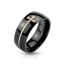 Stainless Steel Black IP with Elongated Iron Cross Dome Ring Men Band Size 9-14