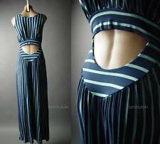 Navy Blue Pastel Stripe Low Cutout Back Beach Lounge Long Maxi 83 mv Dress S M L