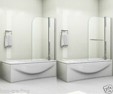 180° PIVOT 6mm GLASS DOUBLE PANEL OVER BATH SHOWER SCREEN CHOICE OF TOWEL HANDLE