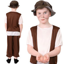 KIDS TUDOR BOY COSTUME CHILD'S HISTORIC SCHOOL FANCY DRESS POOR VICTORIAN DAY
