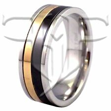 Mens Rings | Mens Gold Black Stainless Steel Ring Size 9.5 10.5 11 12 13 14 15
