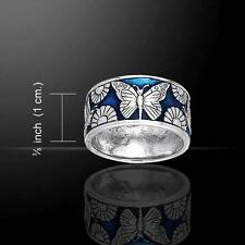 Silver Butterfly & Flower Ring - Symbol of Spring and Rebirth - sterling silver