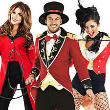 Circus Ringmaster Adults Fancy Dress Lion Tamer Mens Ladies Costumes Outfits New