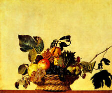 BASKET OF FRUIT TRACES OF DECAY FOOD STILL LIFE  PAINTING BY CARAVAGGIO REPRO
