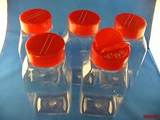 5 BULK SPICE CRAFT BOTTLE JARS 16 oz CLEAR w/Sifter & Spoon Cap FREE US SHIPPING