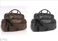 "REAL LEATHER 18"" Holdall Work Laptop Travel Tote Luggage Shoulder Cabin Grab Bag"