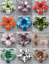 5Pcs Silver Core Murano Glass Beads Fit European Charms Bracelet Free Shipping