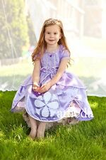 Gorgeous Girls Sofia the First Princess Costume Glitter Crystal Party Dress 2-8Y