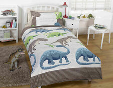 Dinosaur Facts Natural Cream Stripes Bedding Duvet Curtains Range + FREE P&P