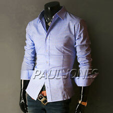 Stylish Checked Pattern Dress shirts Slim Fit Long Sleeve in 6 Colour Casual TOP