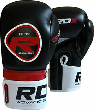 Auth RDX Leather Gel Boxing Gloves Fight,Punch Bag MMA Muay thai Grappling PadOS