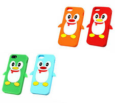 Soft Silicone Penguin Case Cover for iPhone 5s 5 with Screen Film & Stylus