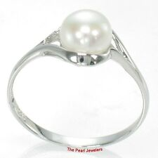 925 Sterling Silver Rhodium Finish White Cultured Pearl Solitaire Ring