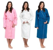 WOMENS 100% COTTON WAFFLE BATHROBE DRESSING GOWN BELT HOUSECOAT LADIES SIZE 8-14