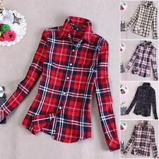 Women Button Down Lapel Casual Plaids Shirt & Checks Flannel Shirts Blouse Tops