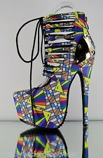 Red Kiss Angel Corset Lace Geometric Ankle Boot Booties Yellow Multi Color 6-11