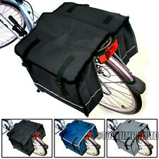 LARGE DOUBLE BICYCLE PANNIER BAG SHOWER RESISTANT REAR BIKE CYCLE RACK CARRIER