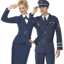 WW2 Air Force Male Female Captain Fancy Dress 1940s Uniform Military Costume New