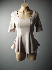 Classic Peplum Vtg-y 40s 50s Square Neck Ladylike Party Top 77 df Blouse 2XS