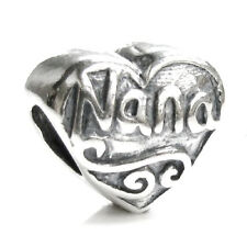 .925 Sterling Silver Antique Heart Love Nana Grandma for European Charm Bracelet