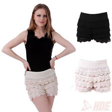 Cute Sweet Womens Lady Fashion Korean Crochet Tiered Lace Petal Shorts Skorts