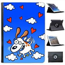 Happy Cupid Dog With Wings In Sky Love Folio Wallet Leather Case For iPad Air
