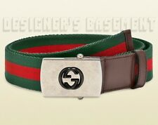 GUCCI green red green WEB Canvas INTERLOCKING G logo Slip buckle Belt NWT Authen