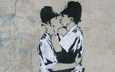 Reproduction Banksy Art Print. kissing coppers. Various Sizes A1 A2 A3 A4 Sizes