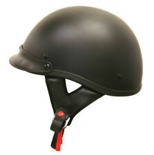 Lunatic Shorty Helmet Matte Black Flat DOT Approved Adult Motorcycle Half Helmet