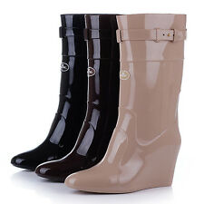 Women Rainboots Pointed nonslip Fashion overshoes Tall Wedge boots Knight XP0001