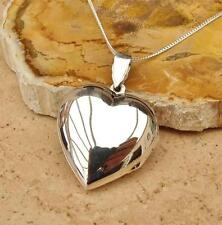 925 STERLING SILVER HEART LOCKET PENDANT/NECKLACE LARGE PLAIN PHOTO JEWELLERY
