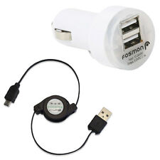 Retractable Micro USB Charging Cable + 2.1Amps Dual Port USB Rapid Car Charger