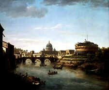 VIEW OF ROME FROM THE TIBER RIVER ITALY 1775 PAINTING BY WILLIAM MARLOW REPRO